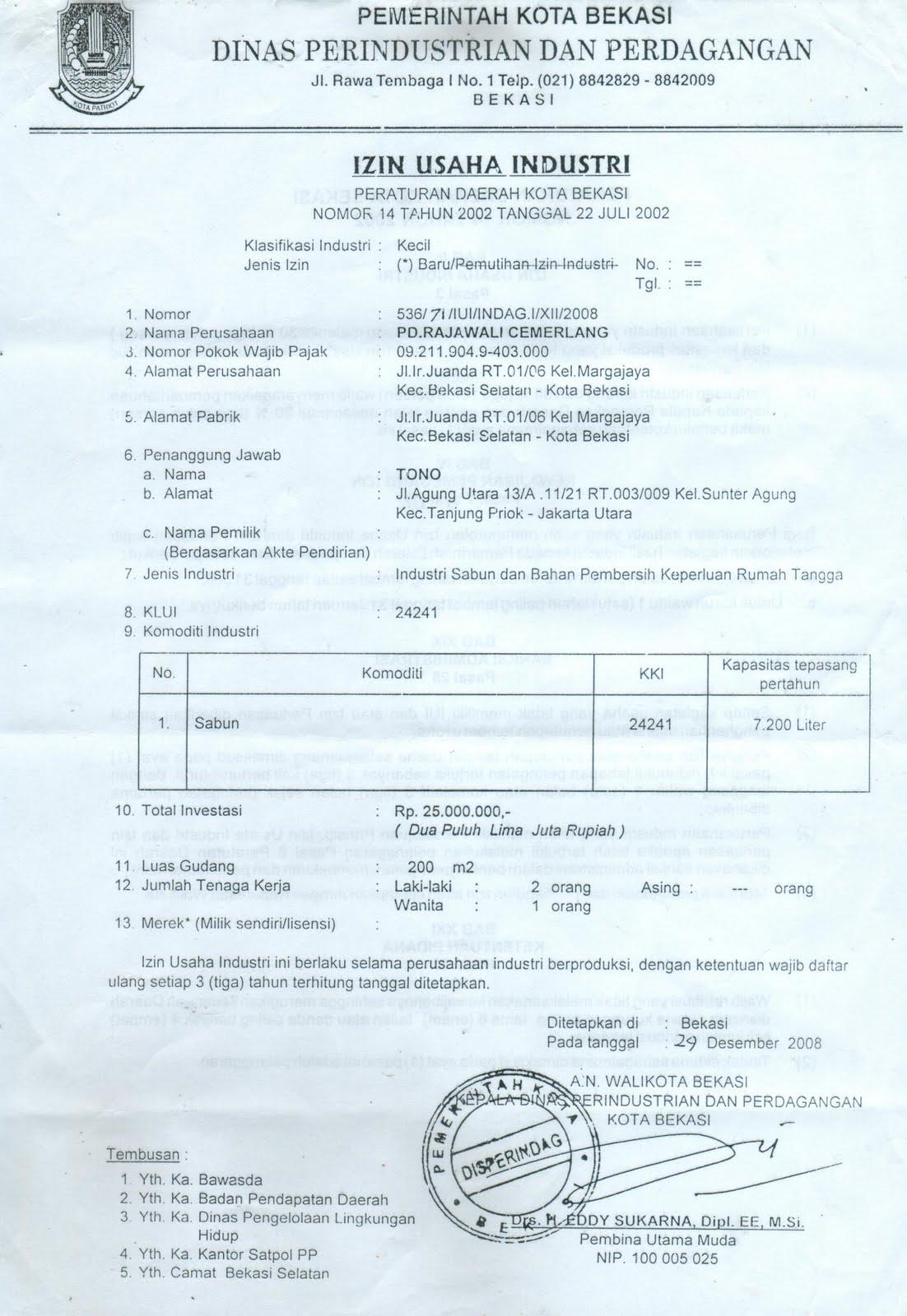 Contoh Surat Perizinan Usaha