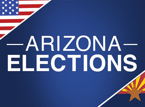 Poster for Arizona Elections, featuring U.S. and Arizona flags