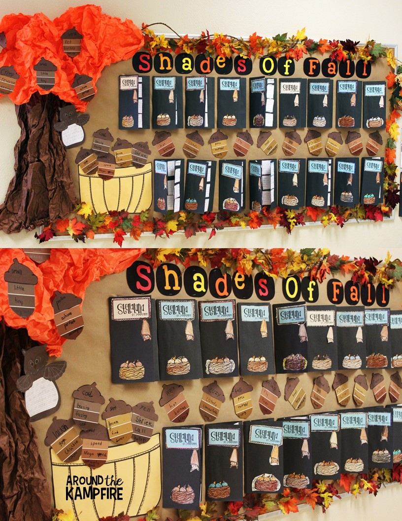 nice Bullentin Boards For Fall Part - 17: Fall bulletin board ideas with Stellaluna book studies and vocabulary acorns