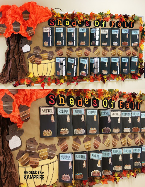 Fall bulletin board ideas with Stellaluna book studies and vocabulary acorns