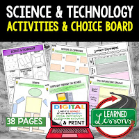 Science and Technology Activities, Earth Science Activities, Choice Boards, Digital Graphic Organizers