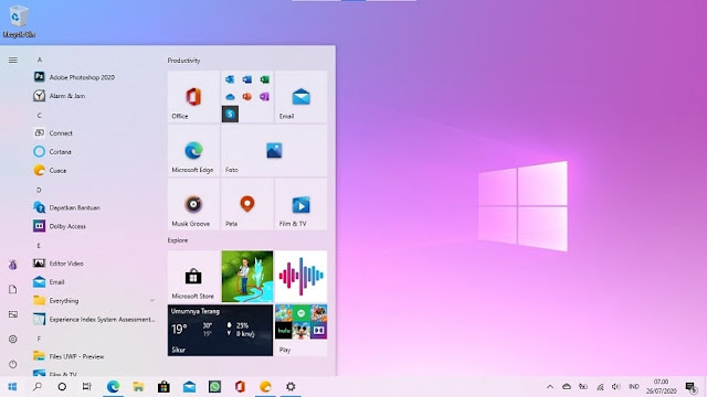 Start Menu Windows 10 20H2 - CaraGw.com