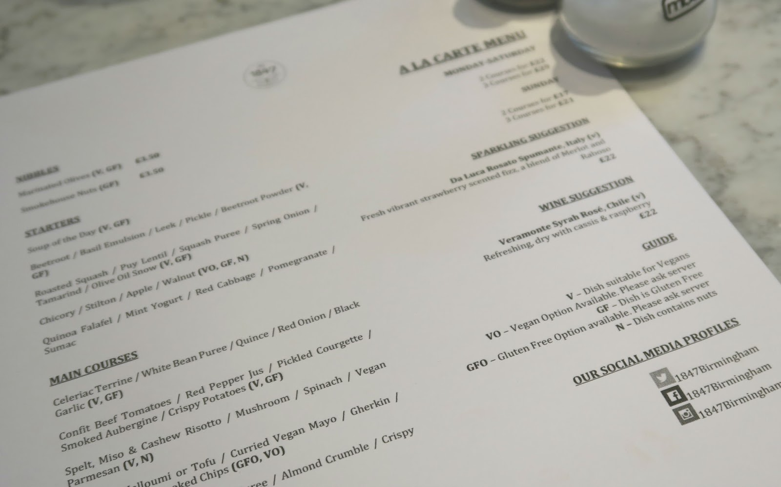 menu at 147 birmingham