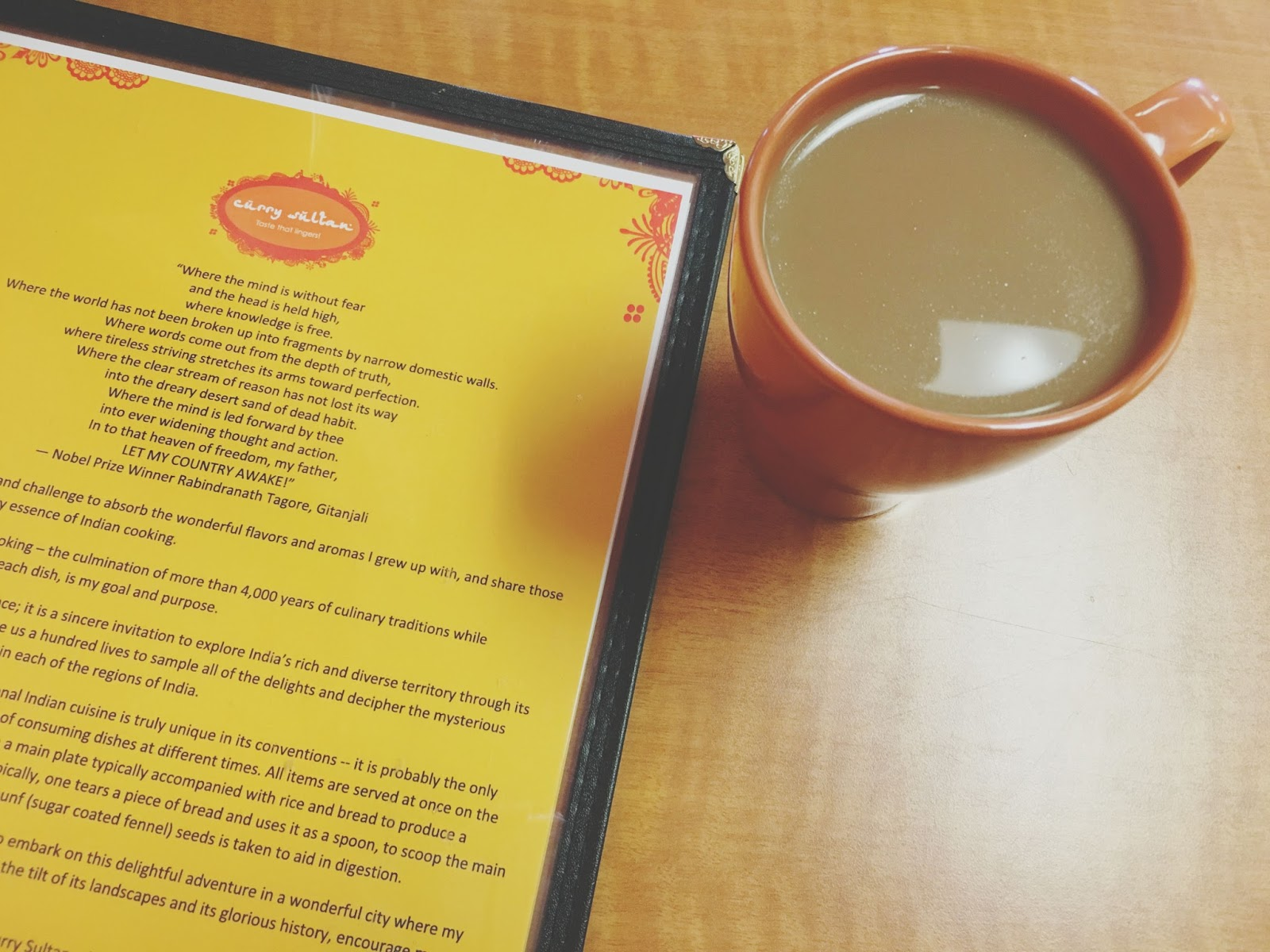 chai tea at Curry Sultan - an Indian Restaurant near Houston, Texas