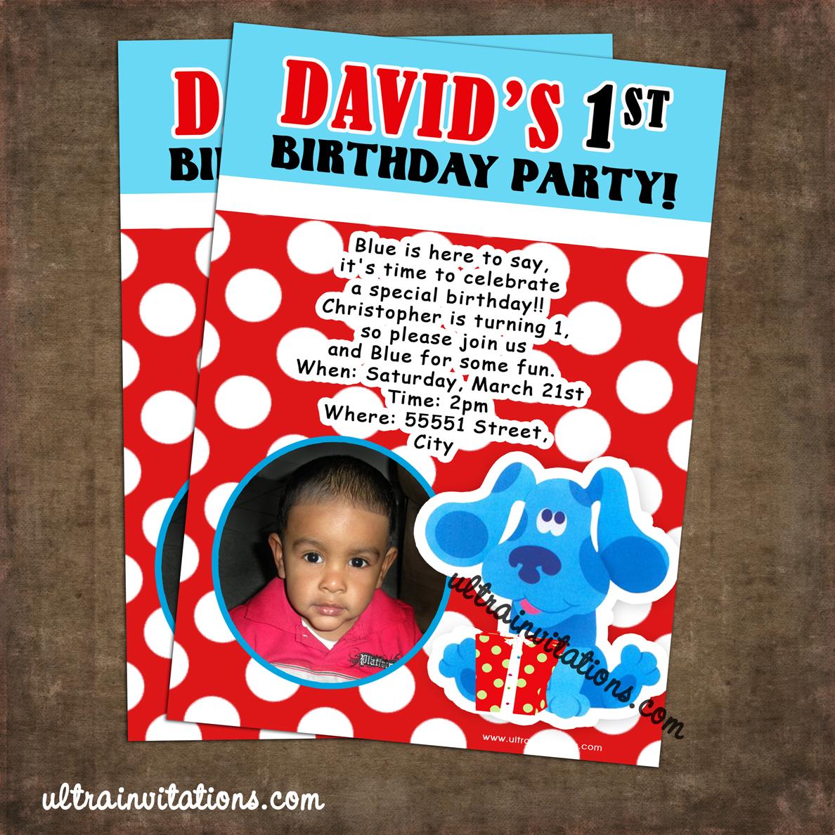 ultra invitations  blues clues invitations birthday photo