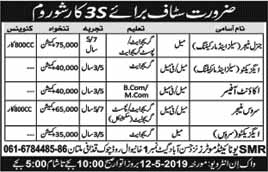 Staff required in 3s Car Show Room in Multan