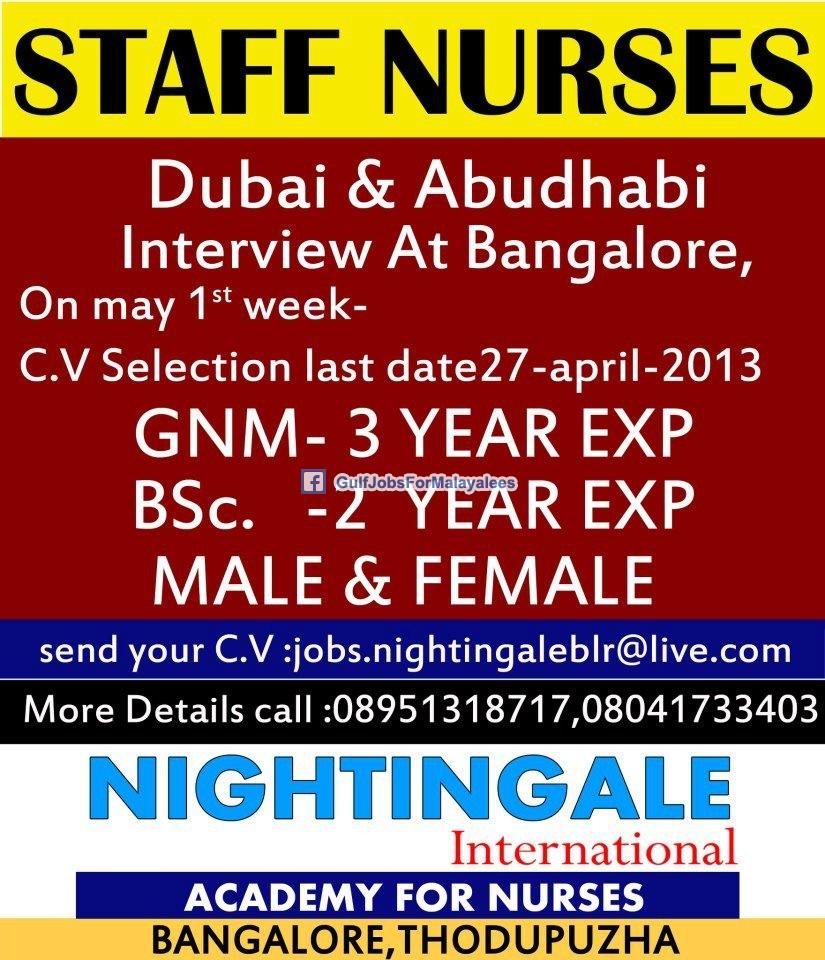 Staff Nurses For Dubai Amp Abu Dhabi Gulf Jobs For Malayalees