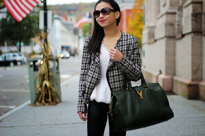 Tweed Jacket and Coated Jeans