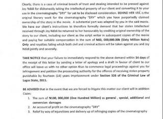 Full Details :Stephanie Okereke-Linus allegedly accused of script theft in 'DRY'