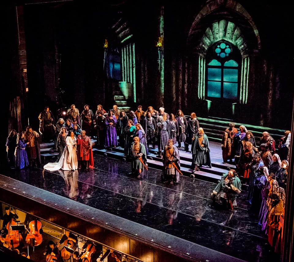 IN REVIEW: the cast of Opera Carolina's November 2019 production of Giuseppe Verdi's MACBETH [Photograph © by Bob Grand Lubell & Opera Carolina]