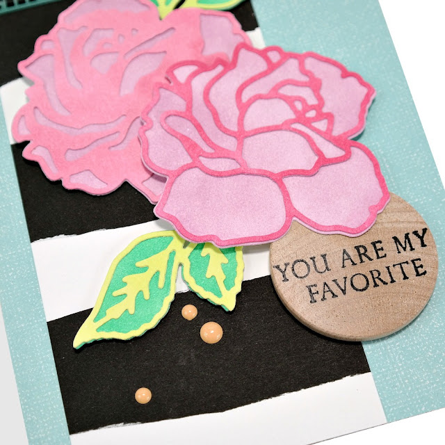 Pink Flowers and Black and White Striped Greeting Card with Stamped Wood Tag Sentiment and Enamel Dots