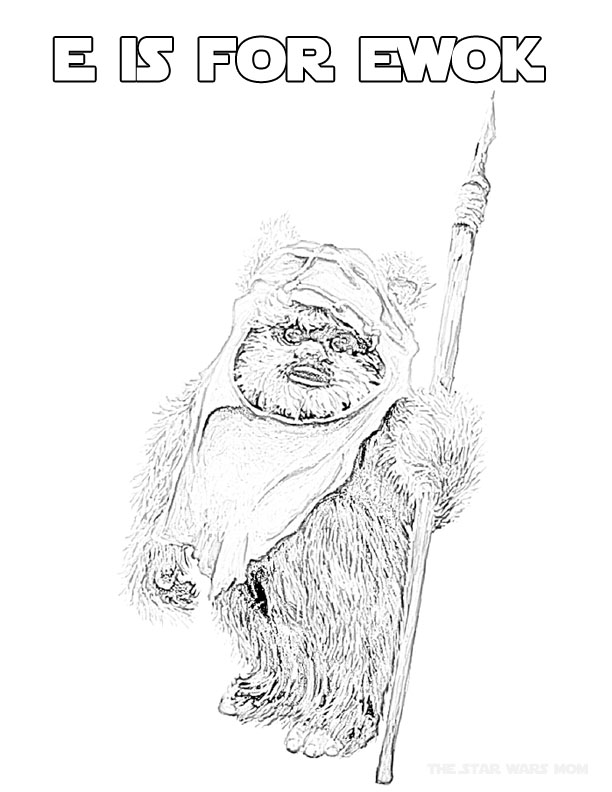 Star Wars Alphabet Coloring Page Letter E is for Ewok