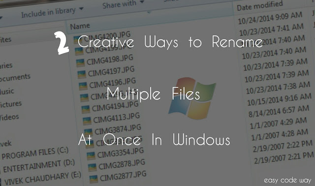 Rename multiple files at once in Windows