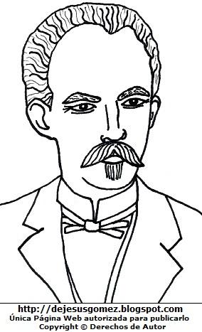 Dibujo de José Marti para colorear pintar imprimir. José Marti hecho por Jesus Gómez