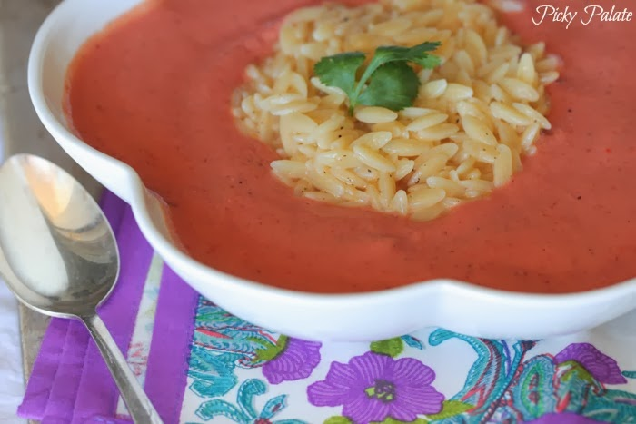 Healthy Skinny Tomato Soup With Cheesy Orzo
