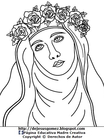 Dibujo de Santa Rosa de Lima para pintar