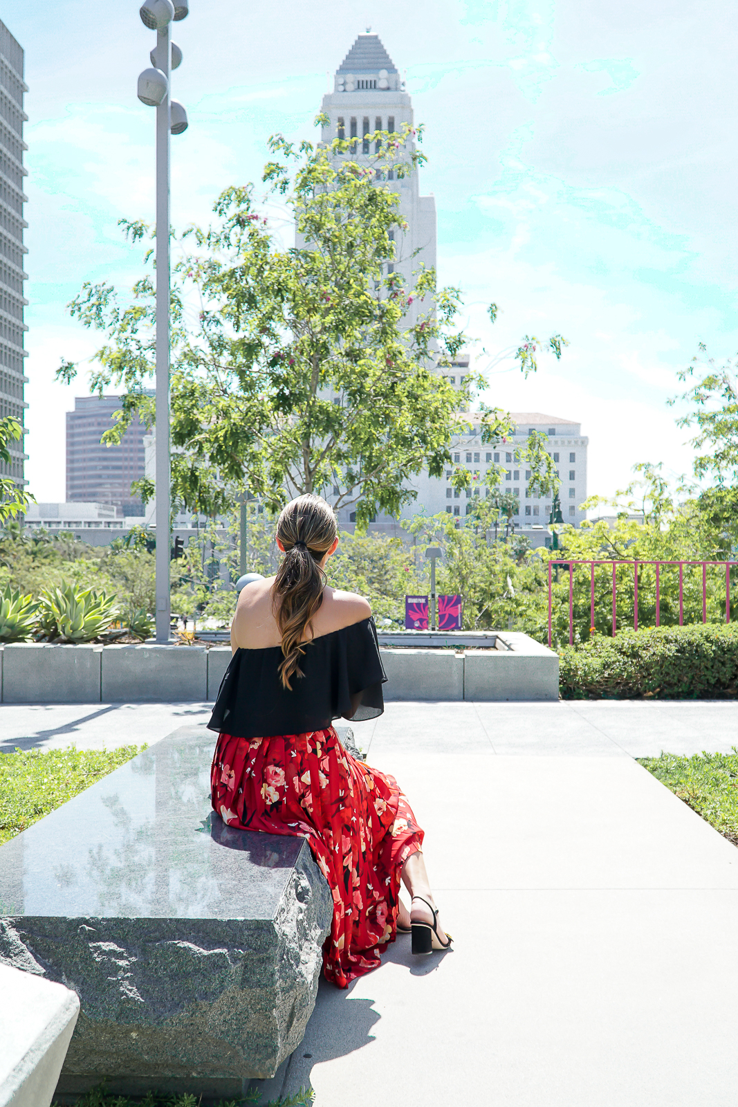 H&M Red Floral Midi Skirt, Red Floral Midi Skirt, Red H&M Skirt, Black Gucci Marmont Sandals, Black Gucci Suede GG Logo Sandals, Black Suede Marmont Sandals, Gucci Marmont 75mm black Suede Sandals, Downtown Los Angeles Photography, City Hall Photography