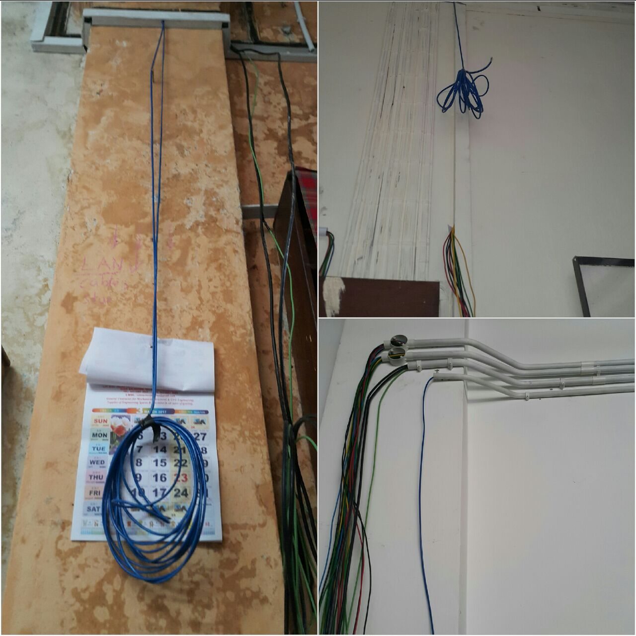 hight resolution of lan cables being installed