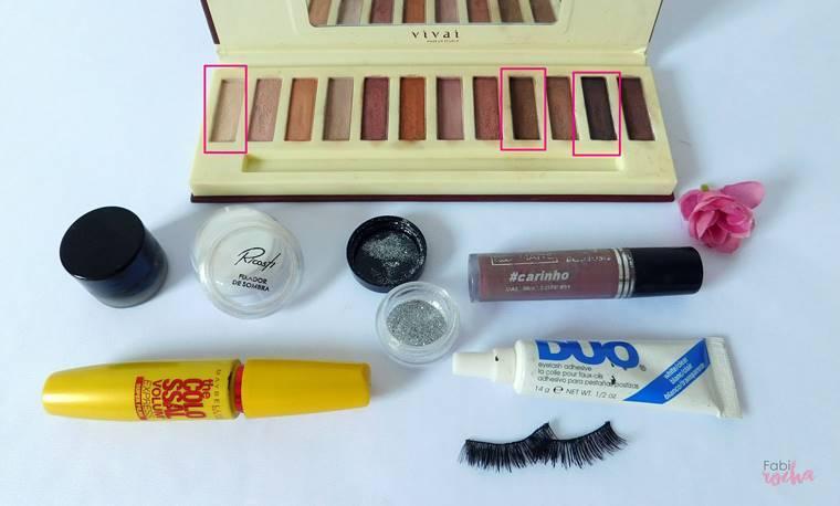maquiagem com glítter prata