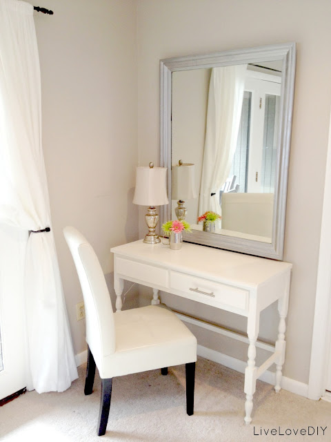 beautiful white colored corner vanity table with vanity chair