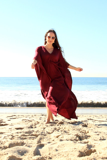 Burgundy Jersey Knit Caftan by Mademoiselle Mermaid