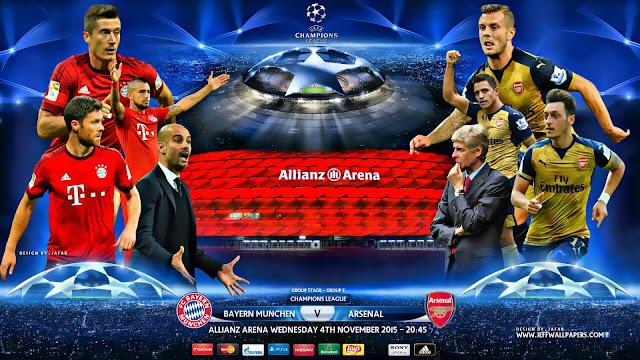 Bayern de Munique x Arsenal - Champions League 2015-2016 - Data, horário, Tv e Local