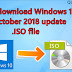 How to download Windows 10 Pro 1809 October 2018 Update x64 bit x32 bit ISO file.