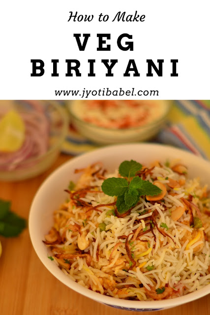 Veg Biryani is a flavourful, spicy and aromatic rice dish that is much loved in India. Here is an easy to follow veg biryani recipe that you can try. www.jyotibabel.com