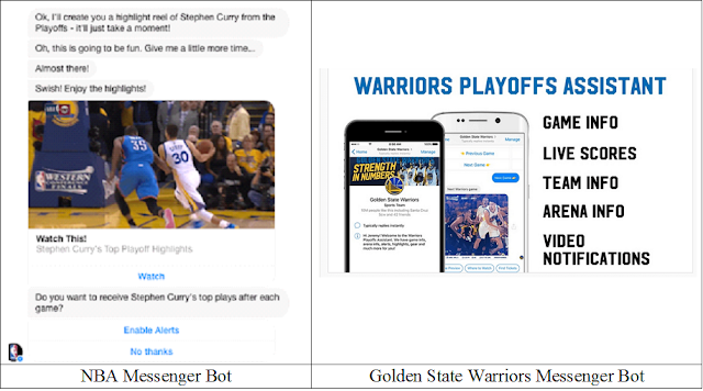 NBA and Warriors Messenger chatbots