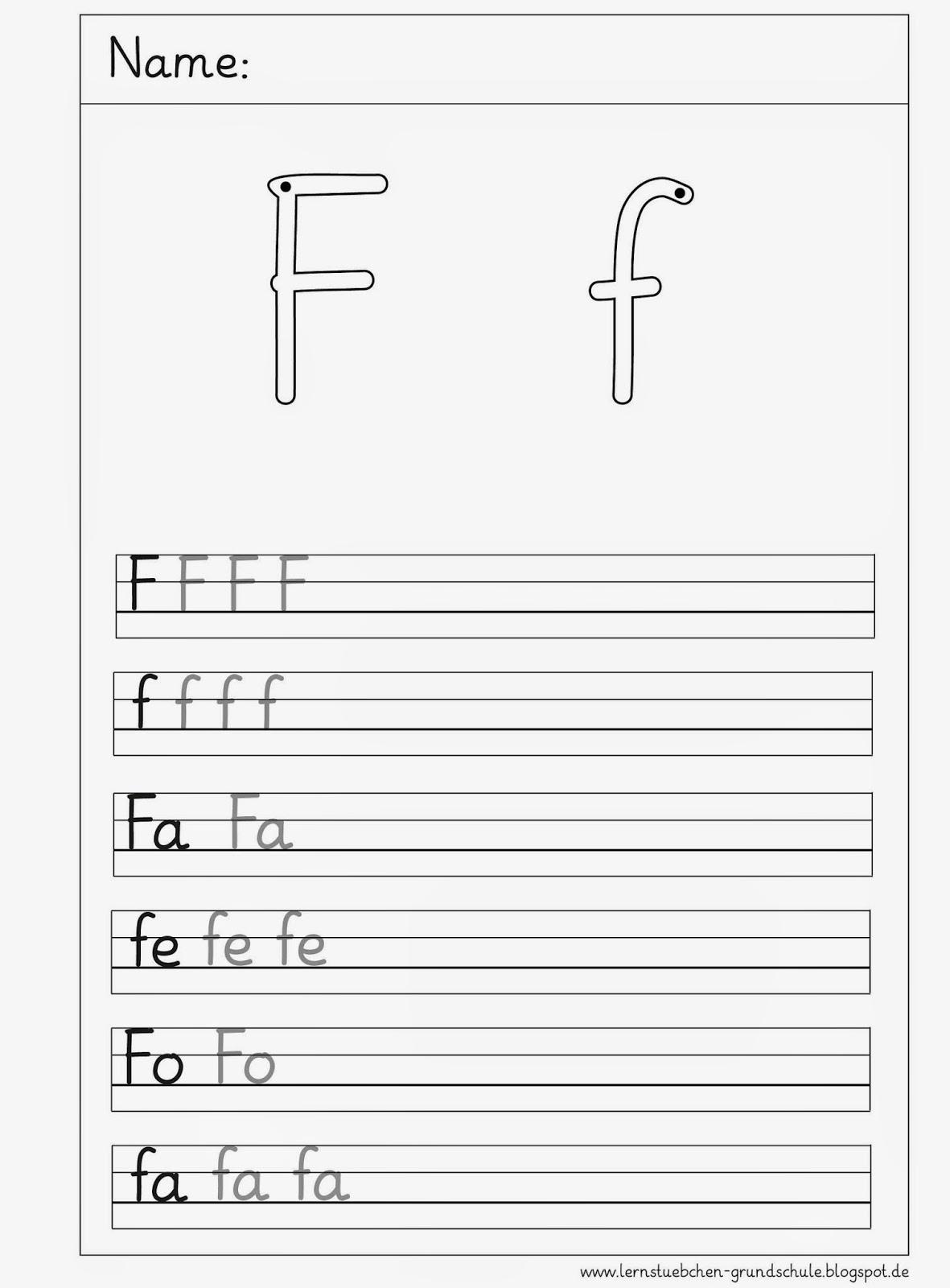Lernstübchen: 7 Schreibblätter zum F - f
