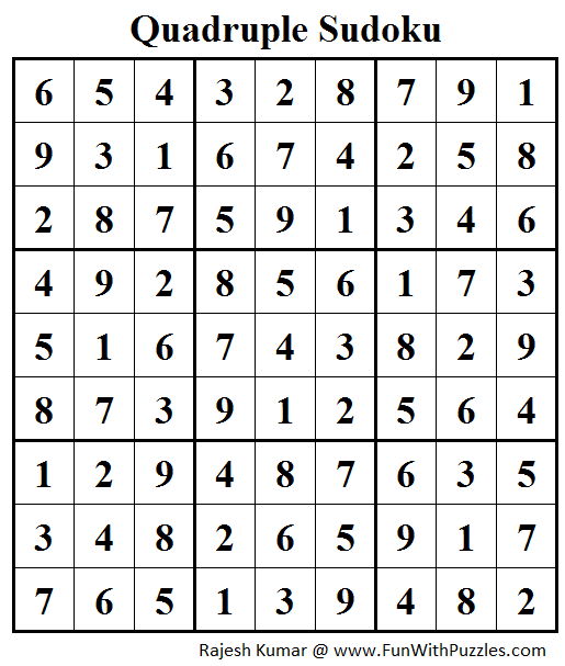 Quadruple Sudoku (Daily Sudoku League #157) Answer