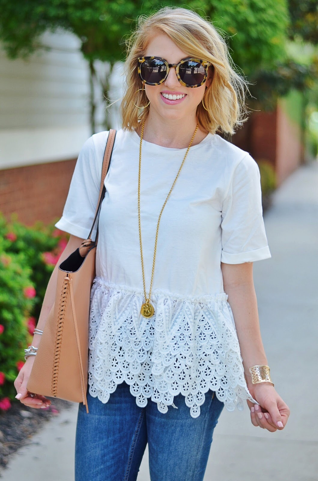 Lace Peplum Tee Under $60 (Something Delightful Blog)