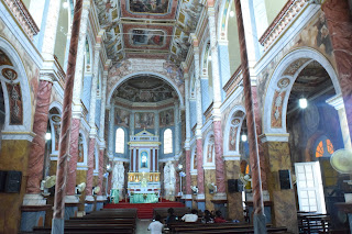 The interior of the chapel at St Aloysius, painted in its entirety by Moscheni in the space of two and a half years