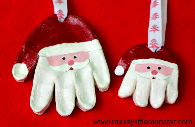 Santa salt dough handprint ornaments and easy salt dough recipe.