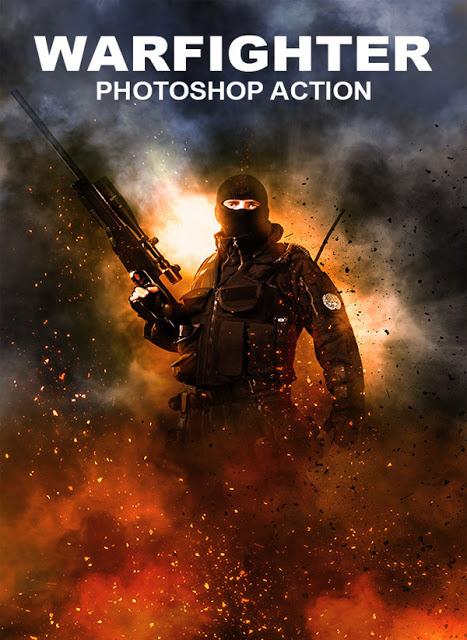 تحميل الـ Action الرائع للفوتوشوب الخاص بالنيران والادخنة  Warfighter Photoshop Action