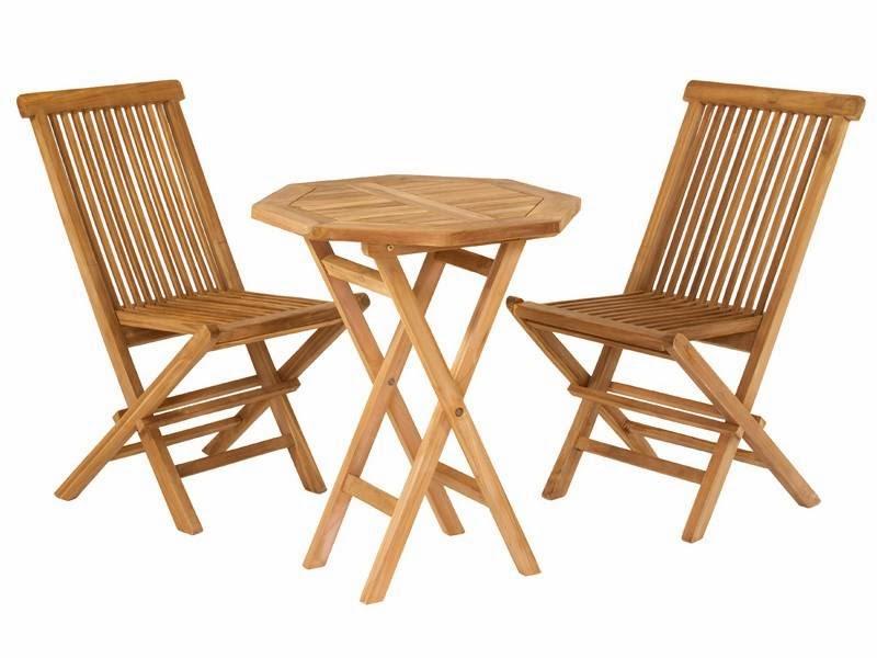 mesa y sillas teca reducidas, mueble terraza pequeñas