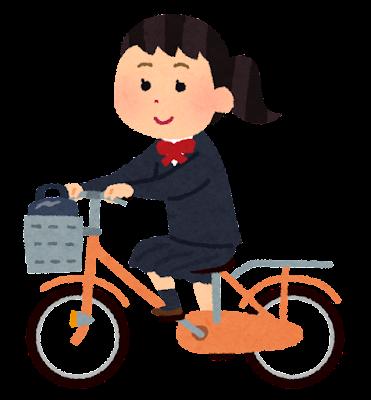 自転車通学のイラスト(女子学生)