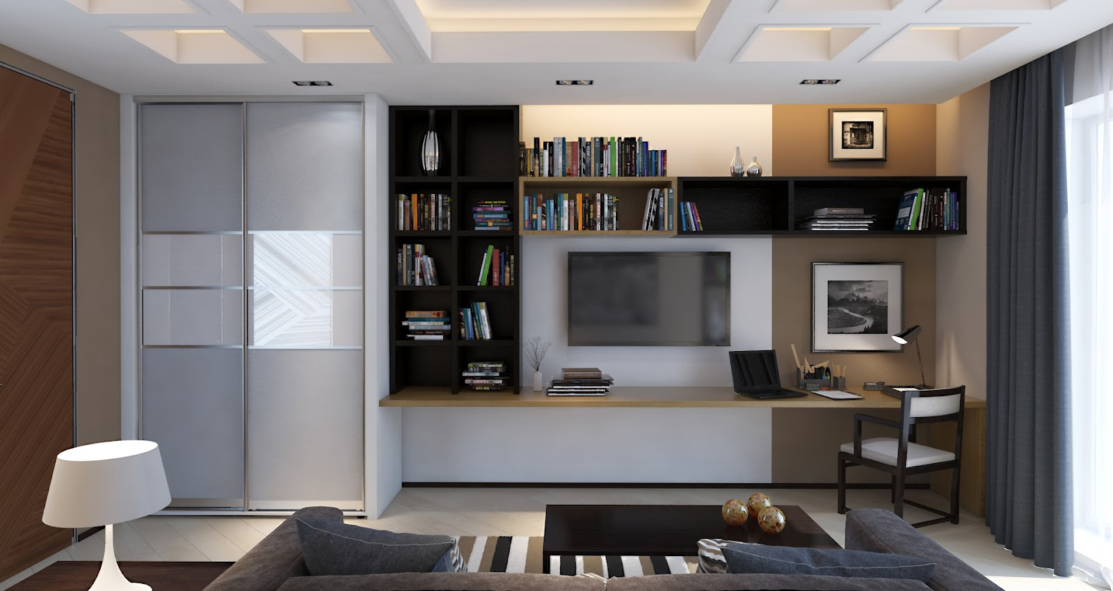 3d design study room in a contemporary style Room builder