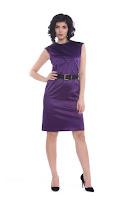 Rochie mov din bumbac satinat AM-30121 (Ama Fashion)
