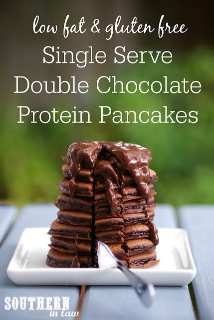 Healthy Single Serve Double Chocolate Protein Pancakes Recipe - low fat, gluten free, high protein, clean eating, sugar free, healthy, vegan