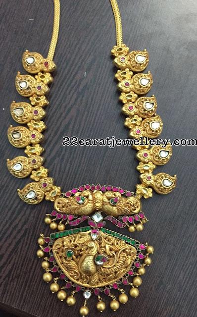 Silver Mango Necklace with Kundan Peacock Locket
