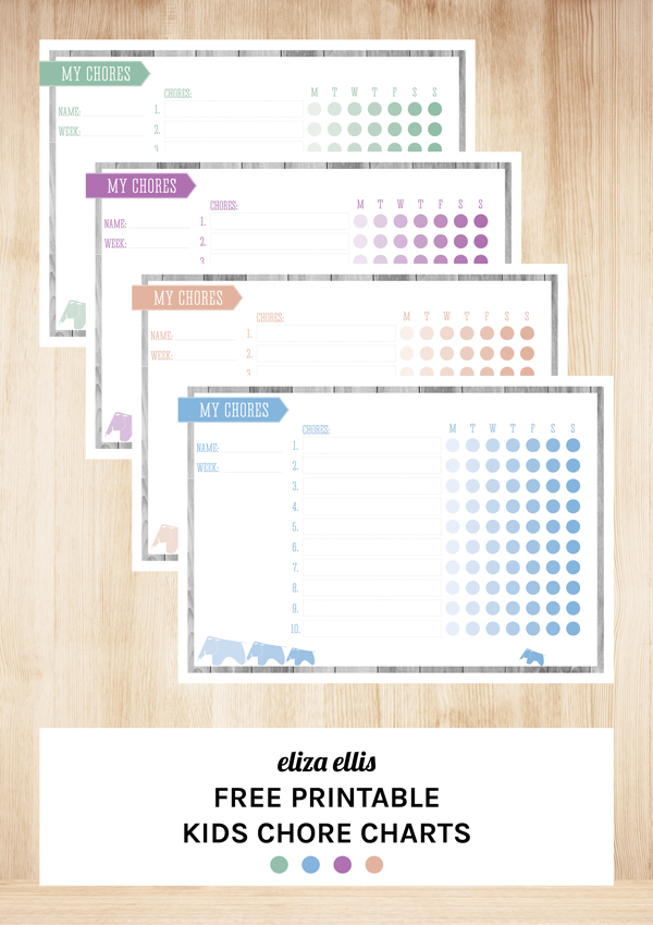 Free Printable Kids Chore Charts by Eliza Ellis