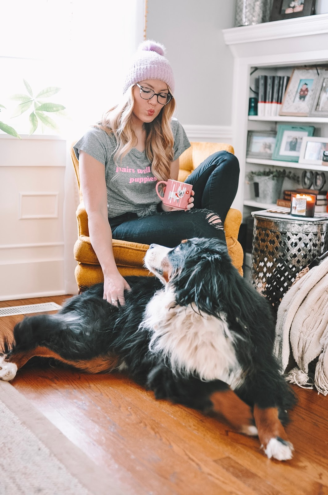 OKC blogger Amanda Martin relaxes with her dog and a good candle.