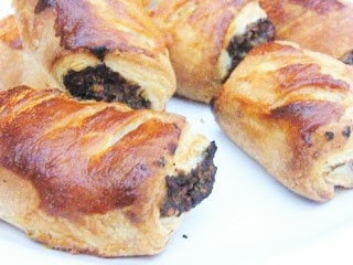 close up of golden vegetarian sausage rolls