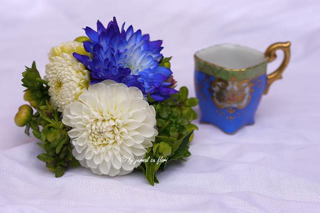 ceasca cafea buchet flori alb albastru coffe cup blue flowers