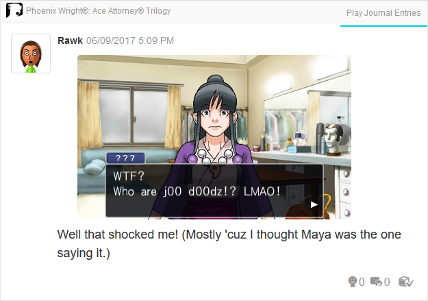 Maya Fey Sal Manella 133t speak Phoenix Wright Ace Attorney Trilogy 3DS Miiverse Capcom Nintendo