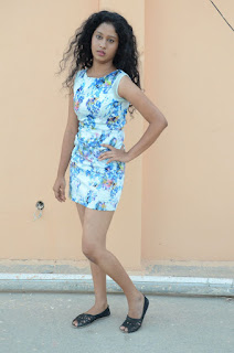 Actress Priyankha Stills in Floral Short Dress at Golmal Gullu Movie Pressmeet 0353.JPG