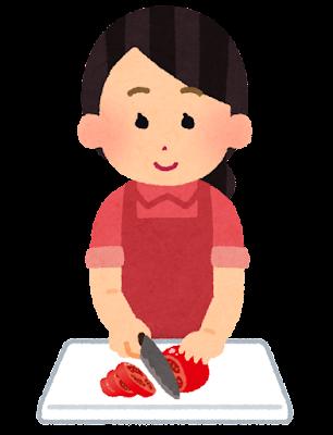 トマトを切る人のイラスト