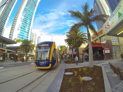G:Link Tram in front of Waxy's Pub July 2014