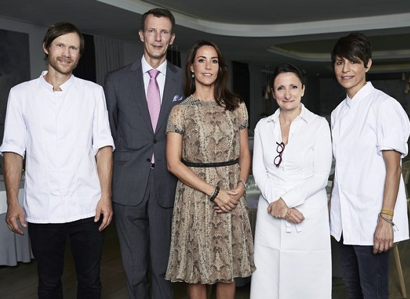 Princess Marie and Joachim at Geranium restaurant in Fælledparken for Cooking and Food Festival. Princess wearing an animal print dress